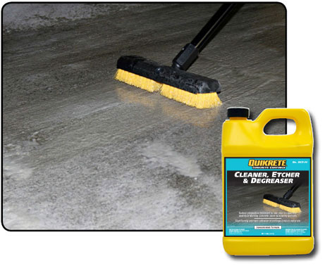 Cleaner etcher degreaser quikrete cement and for Concrete cleaner degreaser