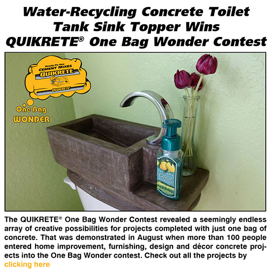 Water-Recycling Concrete Toilet Tank Sink Topper Wins QUIKRETE One Bag Wonder Contest