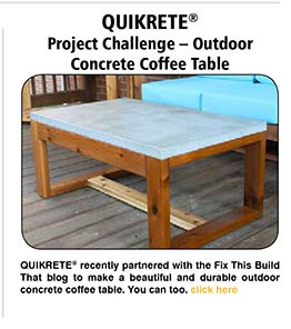 Project Challenge - Outdoor Concrete Coffee Table